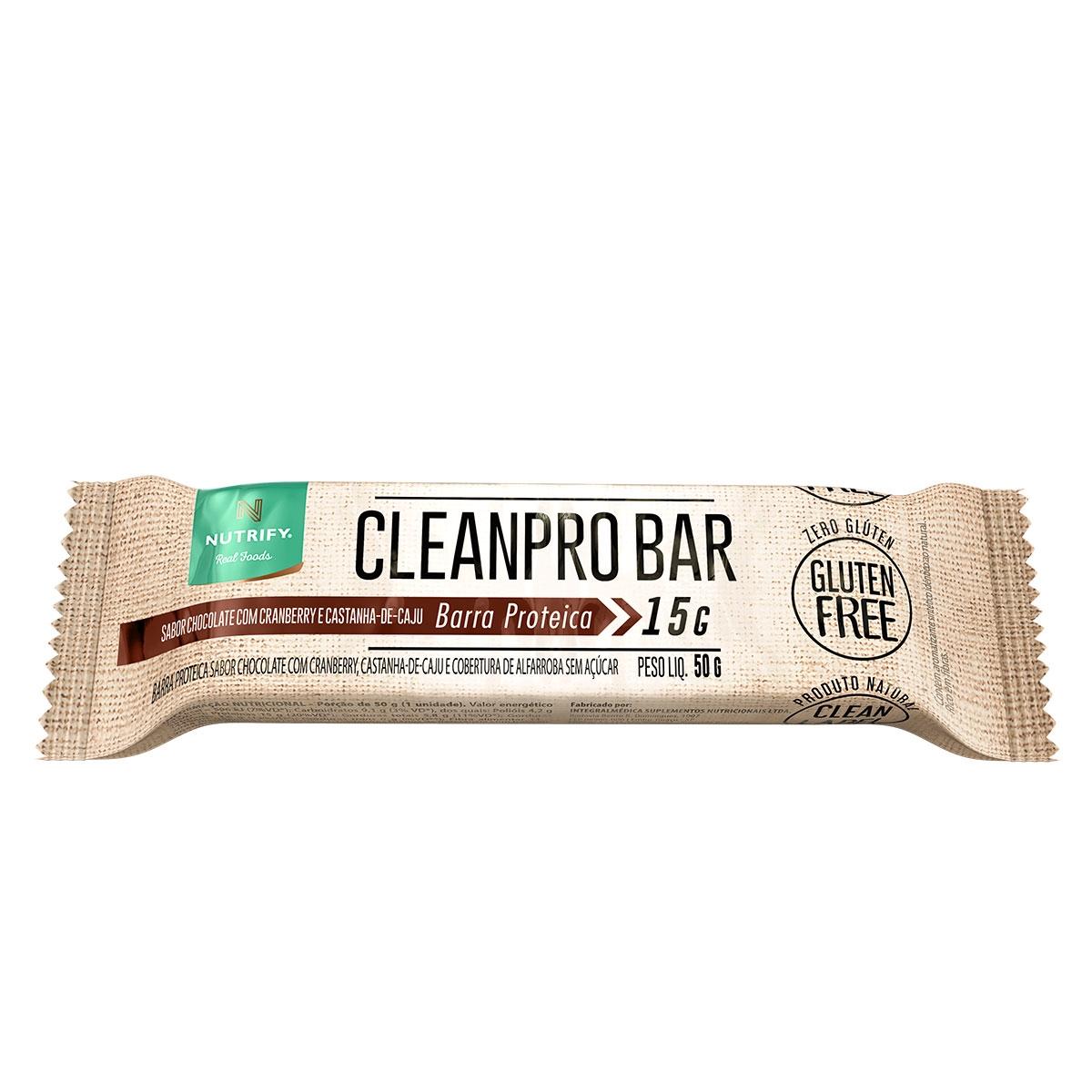 b3d72aac0 CleanPro Bar Barra de Proteína 50g Nutrify Sabores variados